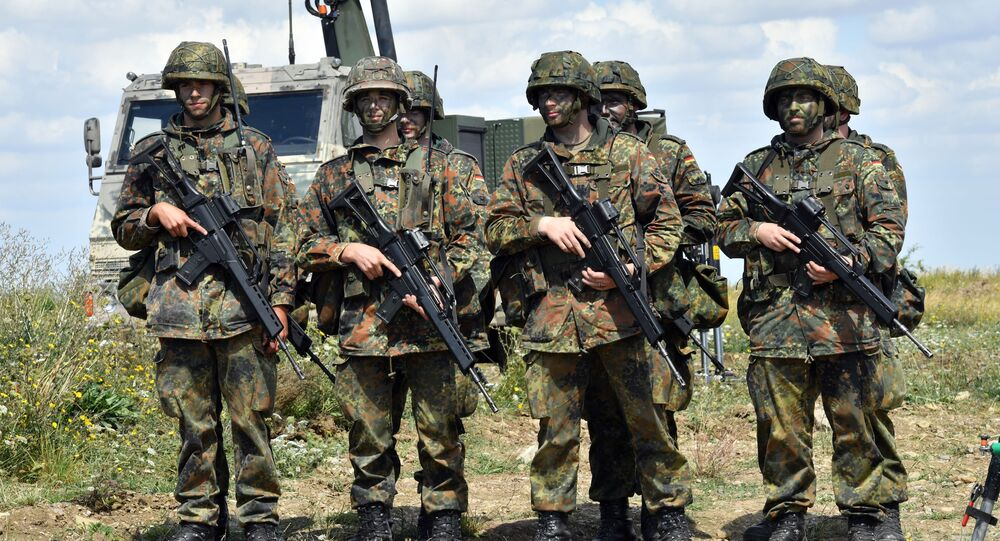 German soldiers (Bundeswehr) are pictured at a training area on August 9, 2016 in Ohrdruf