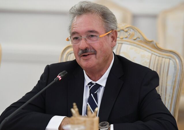 Luxembourgish Foreign Minister Jean Asselborn during a meeting with Russian Foreign Minister Sergey Lavrov in Moscow
