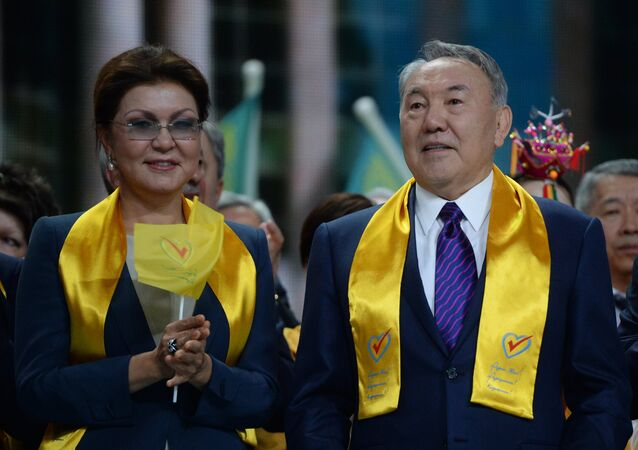 Nursultan Nazarbayev, center, at a festive concert marking his victory in the national presidential elections. Left: Dariga Nazarbayeva, Deputy Speaker of the Majilis, the lower house of the bicameral Parliament of Kazakhstan.