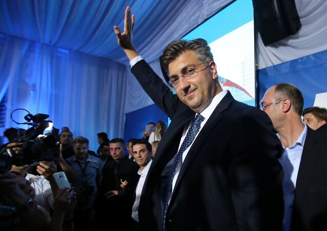 Andrej Plenkovic, president of the Croatian Democratic Union (HDZ), reacts during a speech after exit polls in Zagreb, Croatia, September 11, 2016