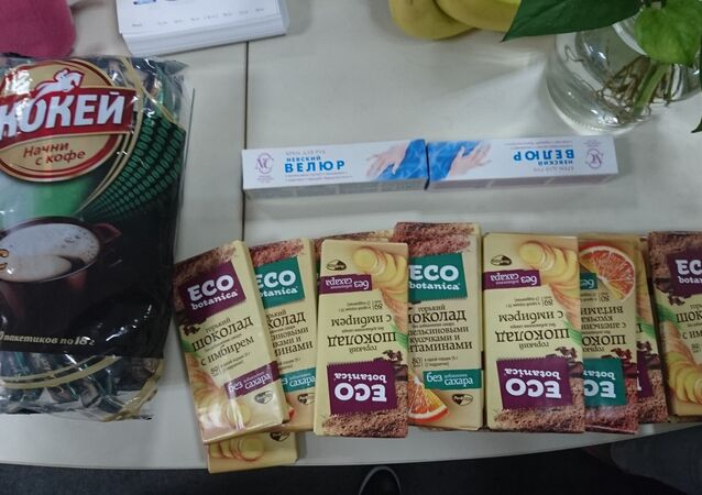 The Sputnik China office were delighted to receive their coffee, chocolate and hand cream from Russia