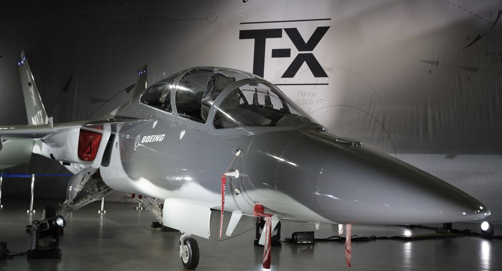 Boeing's T-X aircraft is shown during an event to reveal the proposed trainer Tuesday, Sept. 13, 2016, in St. Louis