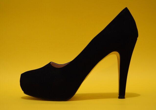 A heeled shoe