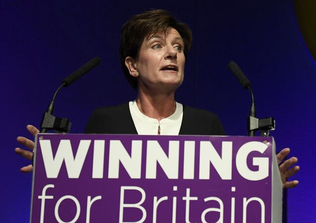 Diane James, the new leader of the United Kingdom Independence Party (UKIP), speaks at the party's annual conference in Bournemouth, Britain, September 16, 2016
