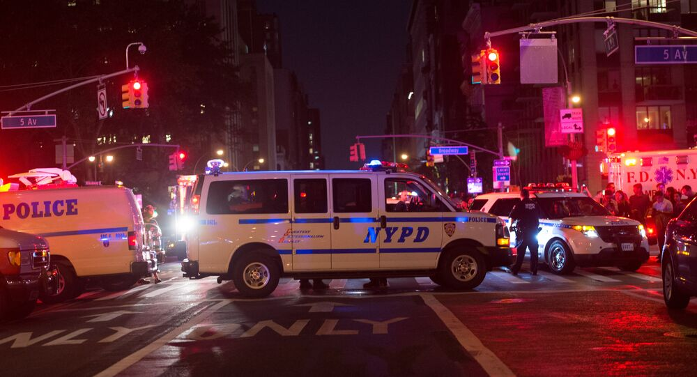 Police block off road near the site of an alleged bomb explosion on West 23rd Street on September 17, 2016, in New York.