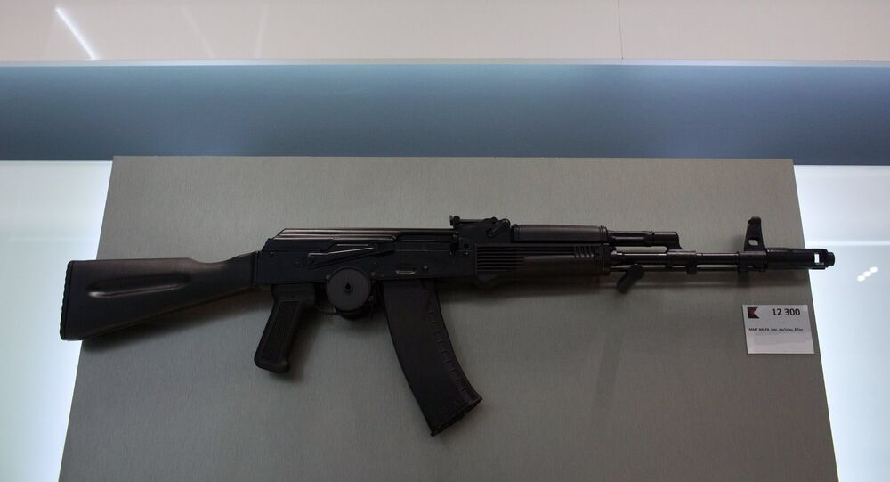 AK-74 assault rifle is sold at a newly opened store of Concern Kalashnikov at Sheremetevo Airport