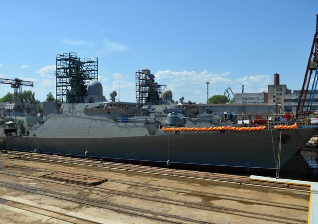 The launch of the Gepard 3.9 class  frigate at the Gorky Zelenodolsk Plant in Tatarstan. (File)