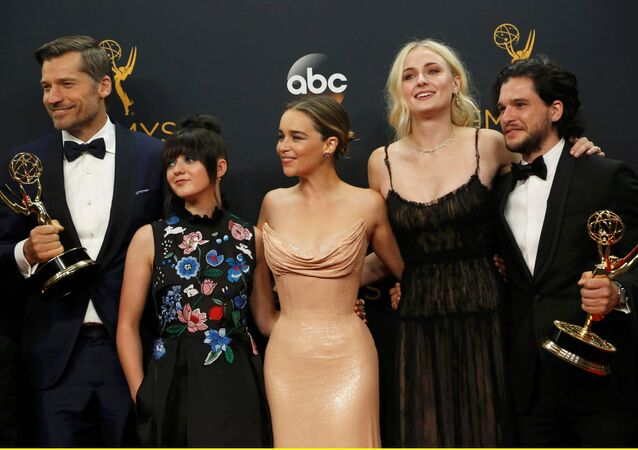 Nikolaj Coster-Waldau (L), Maisie Williams, Emilia Clarke, Sophie Turner and Kit Harrington of HBO's Game of Thrones pose backstage with their award for Oustanding Drama Series at the 68th Primetime Emmy Awards in Los Angeles, California US, September 18, 2016.