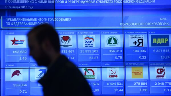 Early results of the Russian State Duma election on an information screen at the Russian Central Election Commission. - Sputnik International