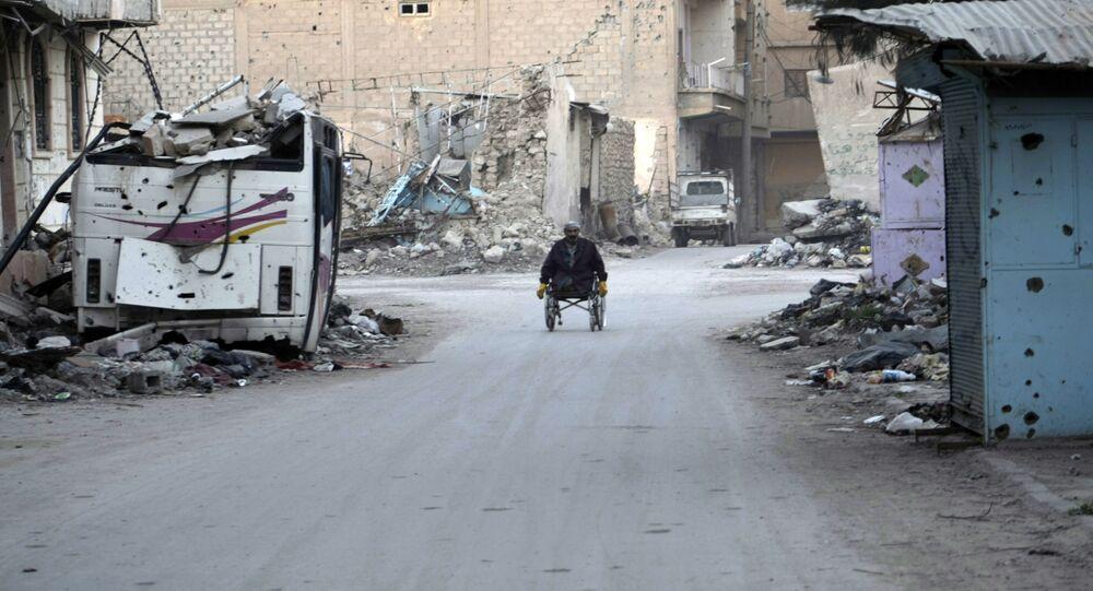 Devastated street in the Syrian eastern town of Deir Ezzor