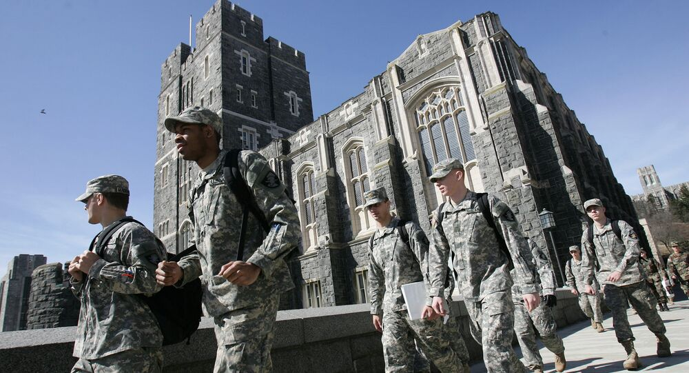 US Army cadets make their way through campus at the United States Military Academy in West Point. (File)