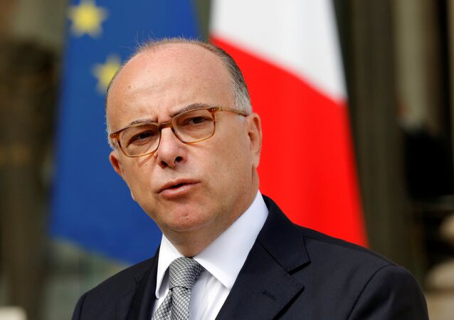 French Interior Minister Bernard Cazeneuve speaks about fires that hit the south of France, in the Elysee Palace courtyard at the end of a defence council in Paris, France, August 11, 2016.