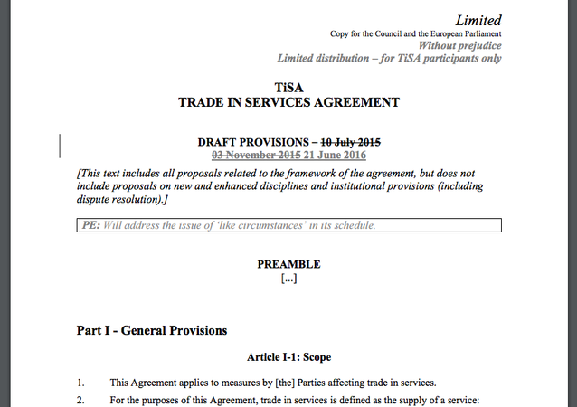 Leaked documents relating to negotiations of the Trade in Services Agreement (TiSA), released by Greenpeace.
