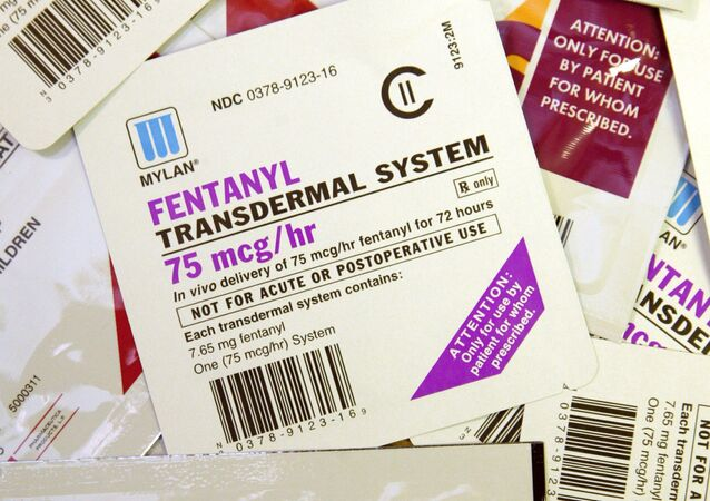 A collection of different brand and dosages of the Fentanyl patch, clearly marked wit warnings about non-precribed uses, Wednesday, April 26,2006 in St. Louis.