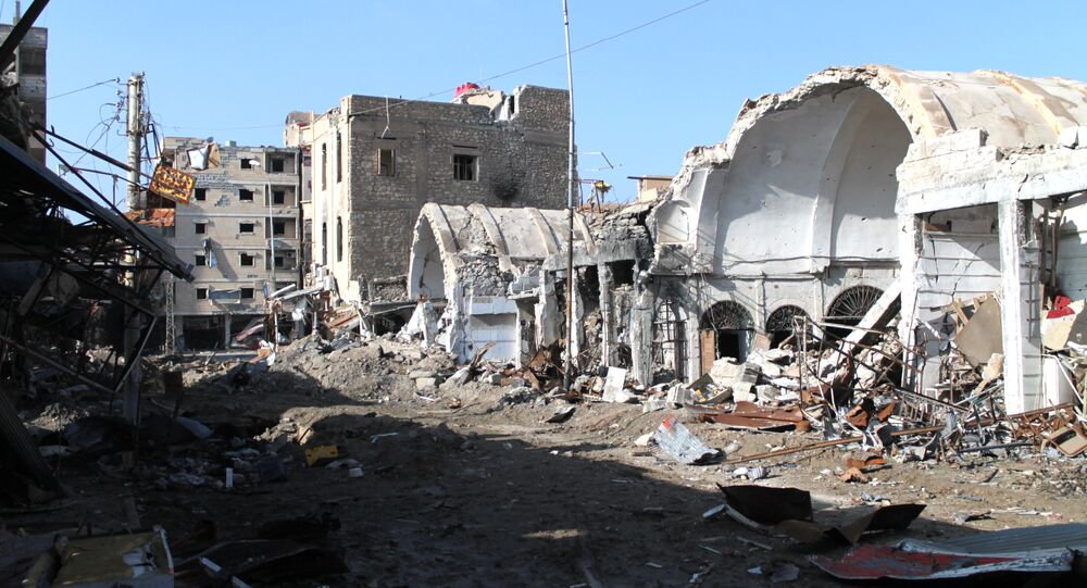 Destroyed buildings making up the souk or market in the old sector of the eastern city of Deir Ezzor, which lies in the eastern province of the same name
