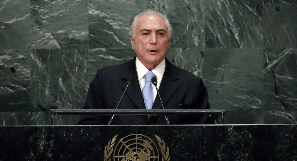 Brazil's President Michel Temer addresses the 71st session of the United Nations General Assembly, at U.N. headquarters