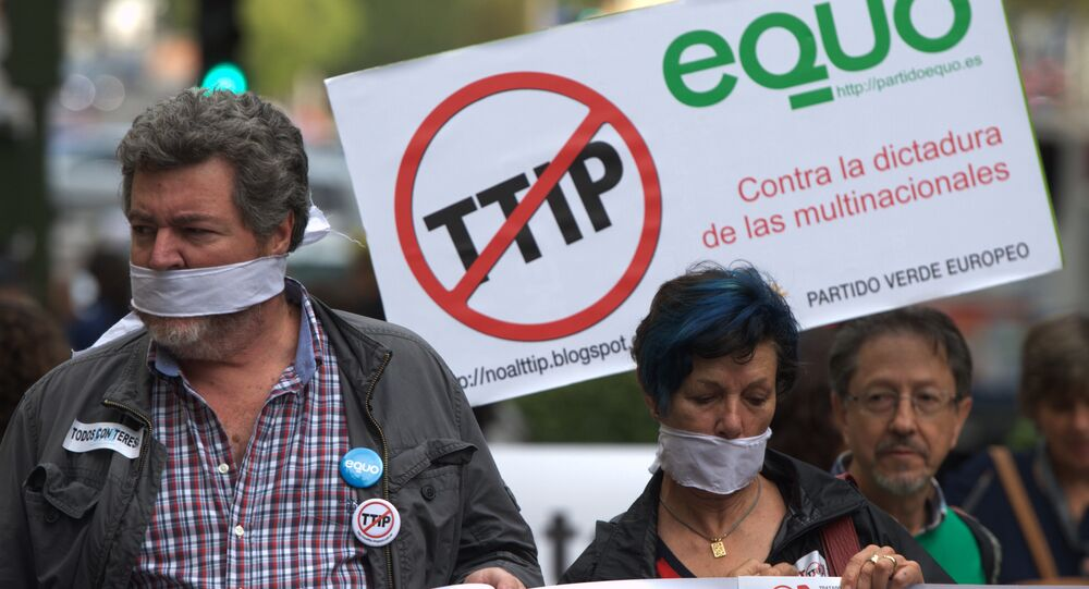 Protesters take part in demonstration against Transatlantic Trade and Investment Partnership (TTIP) in Madrid. (File)