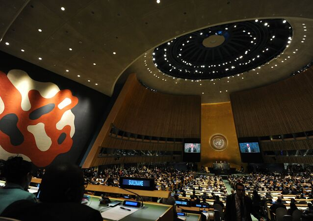 The hall of the UN General Assembly. (File)