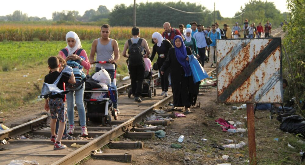 Refugees who did not cross the border before its closure walk on railroad tracks by the Serbian-Hungarian border near the village of Reske.file photo
