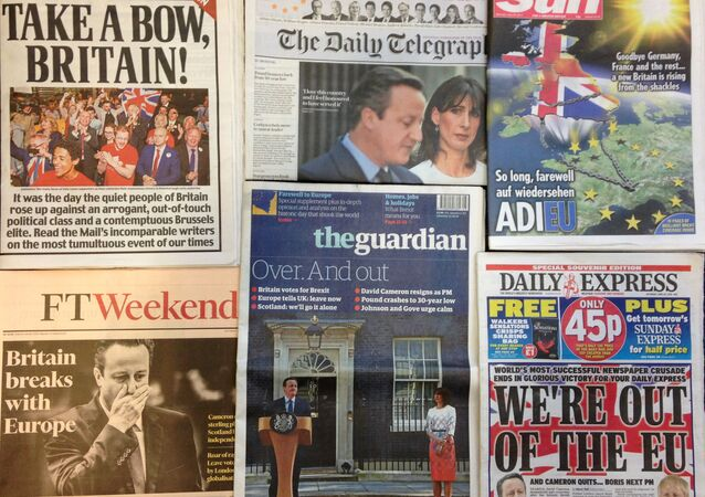 An arrangement of newspapers pictured in London on June 25, 2016.