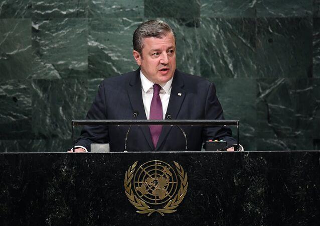 Georgia's Prime Minister Giorgi Kvirikashvili addresses the 71st session of United Nations General Assembly at the UN headquarters in New York on September 21, 2016
