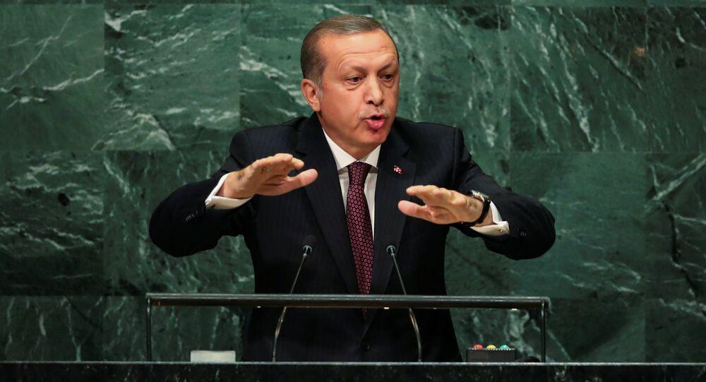 Turkish President Recep Tayyip Erdogan addresses the United Nations General Assembly in the Manhattan borough of New York, U.S. September 20, 2016