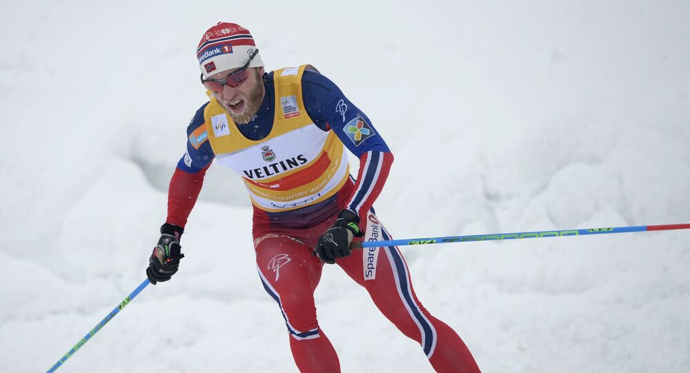 Norway's Martin Johnsrud Sundby competes to win the Men's Skiathlon 15km classic and 15km free style event of the FIS Cross Country Skiing World Cup, the Lahti Ski Games in Lahti, Finland on February 21, 2016