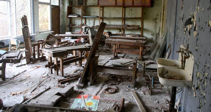 Classrom in an abandoned school in Chernobyl.