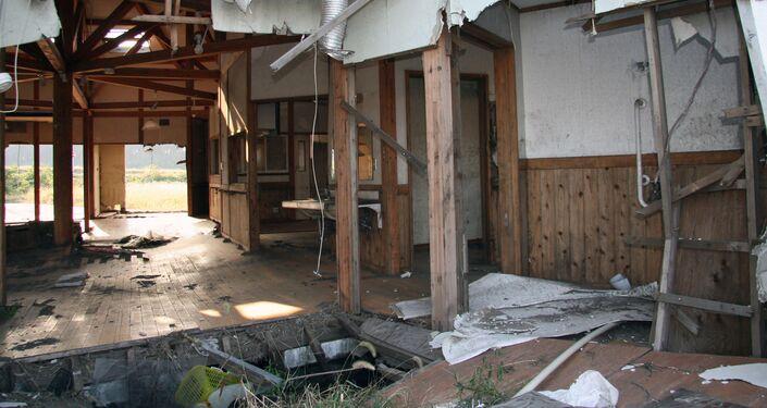 Abandoned school in Fukushima prefecture.