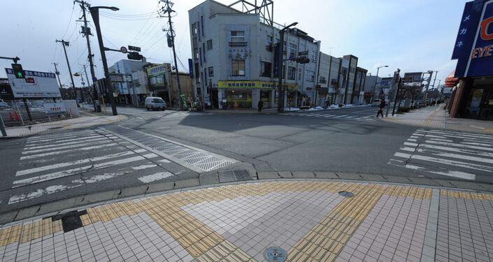The deserted streets of  Ichinoseki in Miyagi prefecture.
