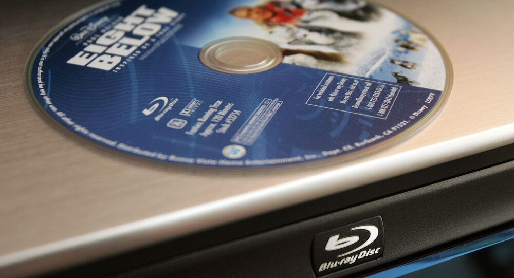 A Sony Blu-Ray disc player and a DVD of the movie Eight Below is seen at a Ken Crane's Big Screen Headquarters store in Buena Park, Calif., Wednesday, Aug. 8, 2007