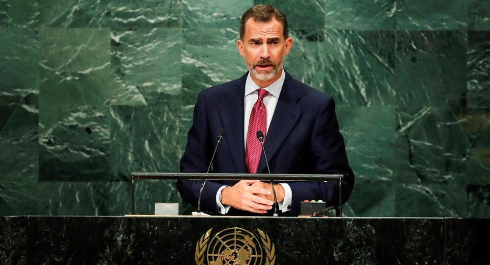 King Felipe VI of Spain addresses the United Nations General Assembly in the Manhattan borough of New York, U.S. September 20, 2016.