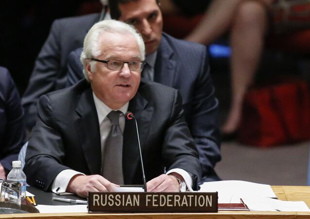 Vitaly Churkin former Russian Ambassador to the United Nations speaks after the vote on a draft resolution for establishing a tribunal to prosecute those responsible for the MH17 flight during a Security council meeting at the United Nations Headquarters in New York on July 29, 2015
