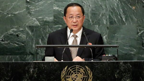 North Korea's Foreign Minister Ri Yong Ho addresses the 71st session of the United Nations General Assembly, at U.N. headquarters, Friday, Sept. 23, 2016. - Sputnik International