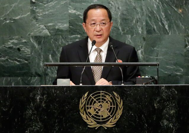 North Korea's Foreign Minister Ri Yong Ho addresses the 71st session of the United Nations General Assembly, at U.N. headquarters, Friday, Sept. 23, 2016.