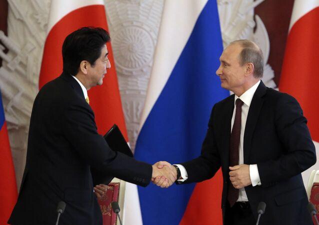 Japanese Prime Minister Shinzo Abe (L) shakes hands with Russian President Vladimir Putin