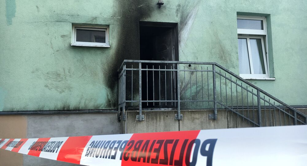 Picture shows a mosque in Dresden, Germany on September 27, 2016, one day after an improvised bomb destroyed the entrance