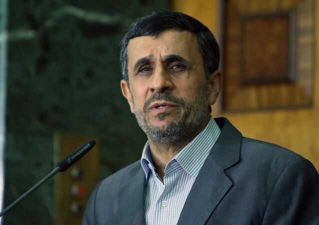 This file photo taken on July 18, 2013 shows Iran's then outgoing President Mahmoud Ahmadinejad speaking during a press conference at the presidential palace in Baghdad.