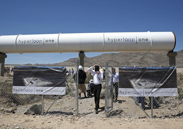 People tour the site after a test of a Hyperloop One propulsion system in North Las Vegas. (File)
