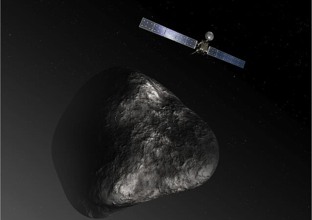 Artist impression of the Rosetta orbiter at comet 67P/Churyumova-Gerasimenko. The image is not to scale.