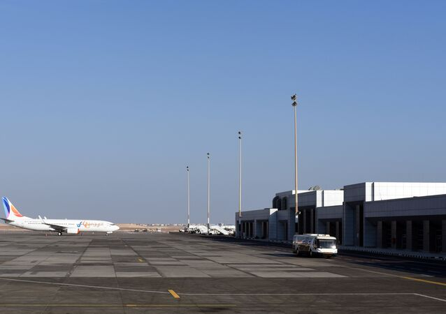 A plane sits on the tarmac at the Hurghada International Airport in Egypt's Red Sea resort