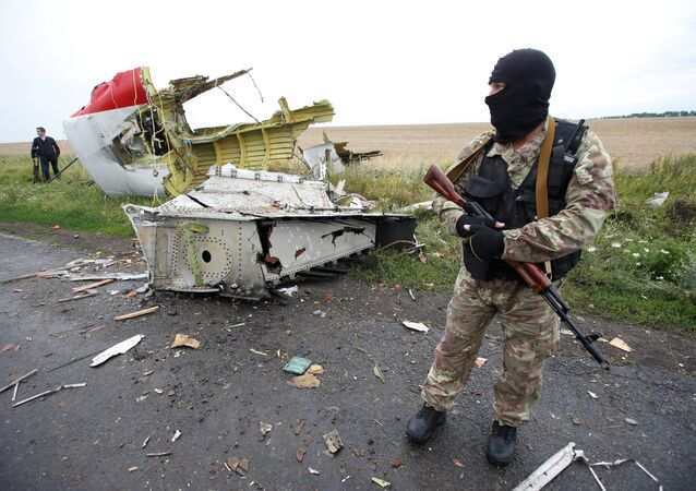 A member of self-defense unit stands at the crash site of Malaysia Airlines flight MH17, near the village of Hrabove (Grabovo) in Donetsk region, Ukraine. (File)