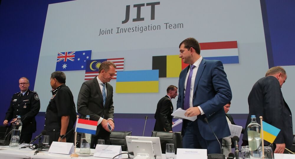 Presentation of a report in Nieuwegein on the investigation results of Malaysia Airlines Boeing 777 (flight MH17) crash in eastern Ukraine in 2014. First Deputy Prosecutor General of Ukraine Dmytro Storozhuk, second right