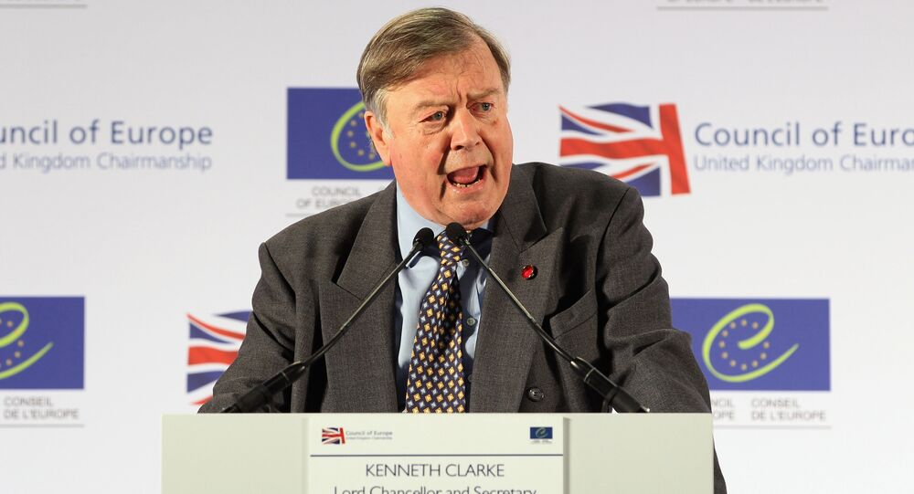 Britain's Former Chancellor Ken Clarke speaks during a news conference at the Council of Europe Conference at the Brighton Centre, Brighton, East Sussex, on April 19, 2012.