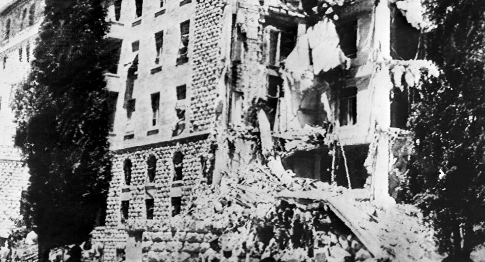 A picture taken 22 July 1946 shows the King David Hotel in Jerusalem, which housed the British Headquarters, damaged after a bombing attack against the British government by members of Irgun, a Zionist terrorist group headed by Menachem Begin.