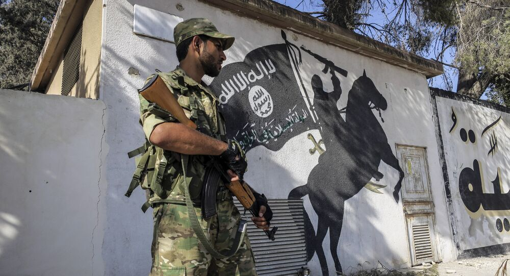 A Free Syrian Army militant stands in front of a painting left by Daesh terrorists in Jarablus, Syria. File photo