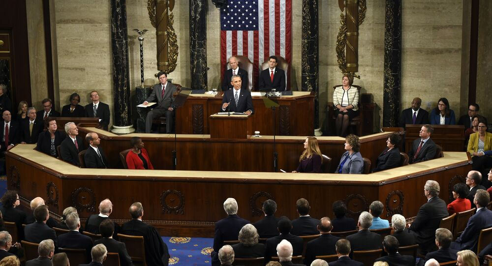 US President Barack Obama (C) speaks during the State of the Union Address during a Joint Session of Congress at the US Capitol in Washington, DC, January 12, 2016