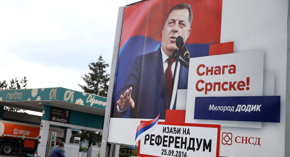 Milorad Dodik, President of Republika Srpska is pictured on an election poster calling for votes for a referendum on their Statehood Day in Prnjavor, Bosnia and Herzegovina, September 21, 2016