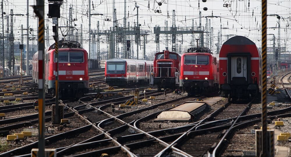 Deutsche Bahn's trains are seen at the main station in Frankfurt/Main, Germany, on March 27, 2014
