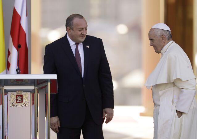 Pope Francis meets Georgian President Giorgi Margvelashvili in Tbilisi, Georgia, Friday, Sept. 30, 2016